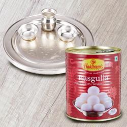 Irresistible Haldiram's 1 Kg. Rasgulla and 5-6 inch Silver Plated Puja Thali