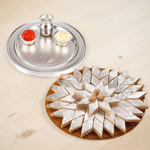 Delicious Haldiram's 1/2 Kg. Kaju Katli and 5-6 inch Silver Plated Puja Thali