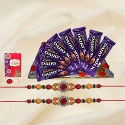 Zesty Selection of 8Pcs Cadbury Dairy Milk Chocolates with 2 Designer Rakhi and Roli Tilak Chawal