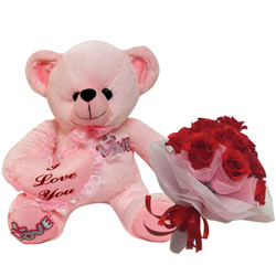 Comfy Teddy Bear with Bouquet