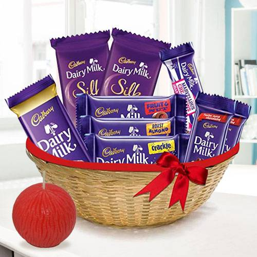 Dainty Dairy Milk Chocolate and Tea Light Diwali Basket