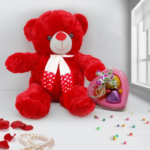 Cute Soft N Cuddle Red Teddy with Heart Shape Chocolates