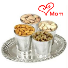 Breathtaking Silver Plated Glasses with 200 gms. Dry Fruits and a 7 inch Tray
