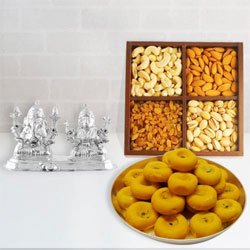 Delicious Dry Fruits and Sweets with Silver Plated Ganesh Lakshmi