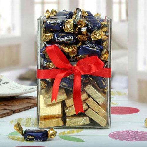 Exquisite Cadbury Eclairs n Handmade Chocolate in a Glass Jar Pack