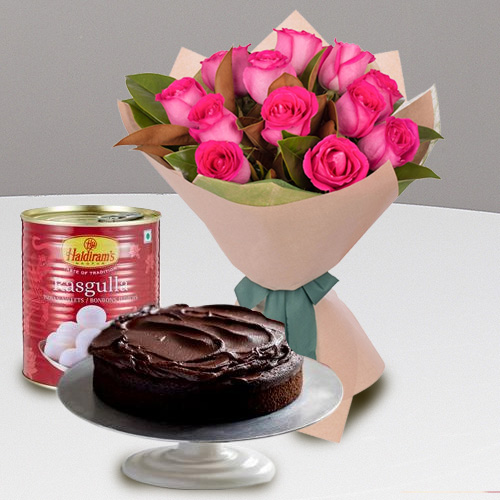 Garden-Fresh 12 Red Roses and Haldiram Rasgulla with 1 Kg Eggless Cake