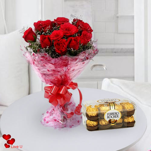 Deliver Online Red Roses Bouquet N Ferrero Rocher