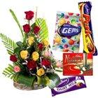 15 Mixed Roses with Assorted Cadburys Chocolates