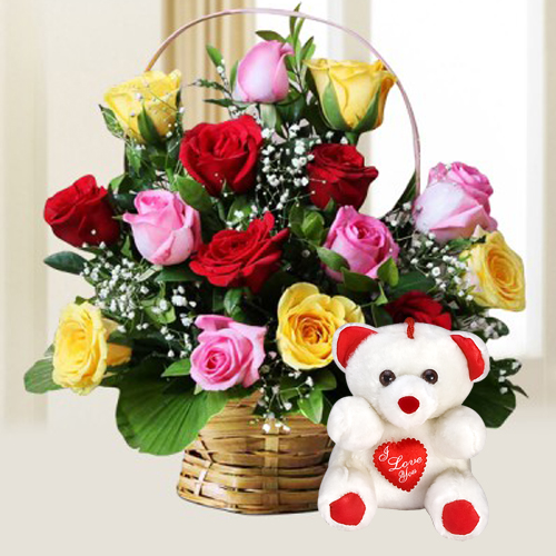 Eye-Catching Blooming Happiness 15 Mixed Roses with cute Teddy Bear