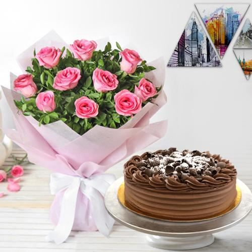 Majestic 10 Pink Roses and 1/2 Kg Eggless Chocolate Cake