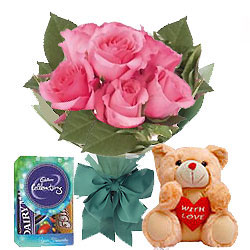 Dazzling Pink Rose Hand Bunch, Small Teddy with Mini Cadbury Celebration