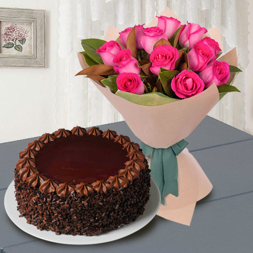 12 Red Roses with � Kg Chocolate Cake