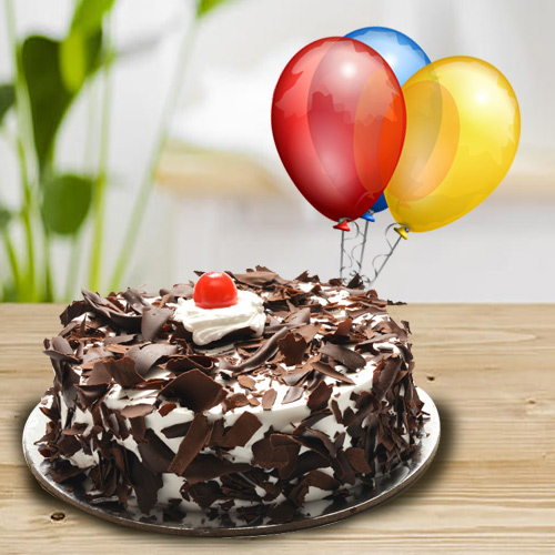 Deliver Online Black Forest Cake with Balloons