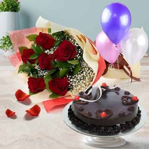 Buy Truffle Cake with Red Roses Bunch and Balloons Online
