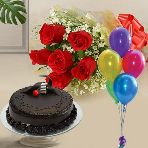 Glorious 1 Kg Chocolate Cake with 6 Red Roses and 5 Balloons