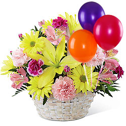 Buy Online Coffee Cake with Mixed Flowers Arrangement