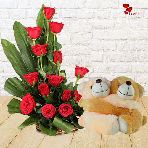 V-Day Combo of Red Roses Basket N Twin Teddy