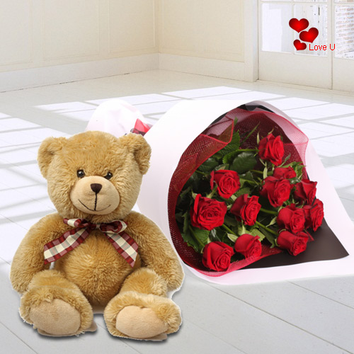 Order Red Roses N Teddy for Hug Day
