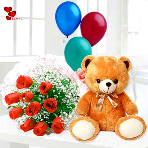 Deliver Teddy Day Combo of Red Roses, Teddy N Balloons
