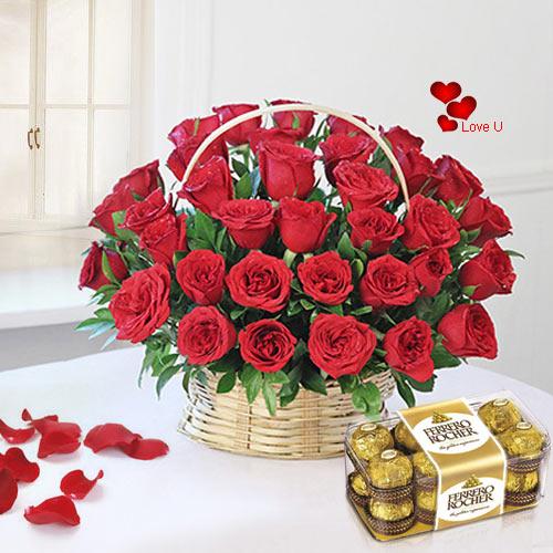 Order Online Red Roses Basket N Ferrero Rocher Chocolates