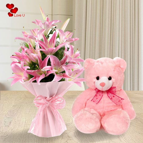 Send Teddy N Pink Lilies Bouquet Online for Hug Day