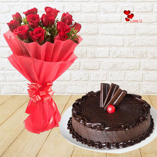 V-Day Combo of Red Roses Bouquet N Chocolate Cake