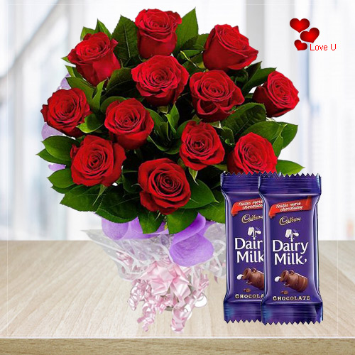 Gift Online Red Roses N Dairy Milk Chocolates