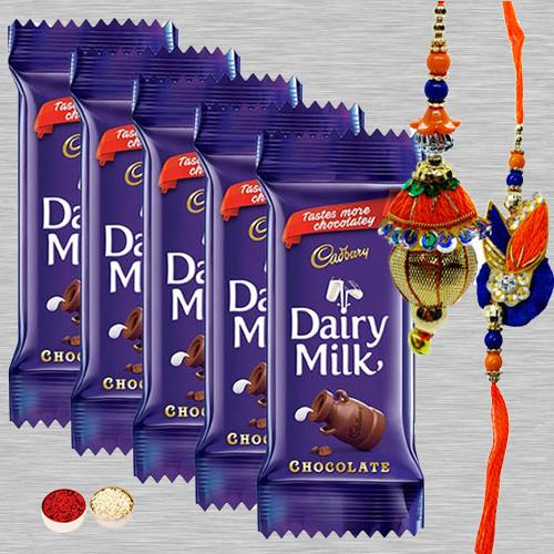 5 Cadbury Dairy Milk Chocolates (13gm bar) with 1 Bhaiya Bhabhi Rakhi