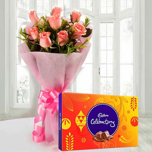 Spectacular Red Rose Bouquet and Cadbury Celebration