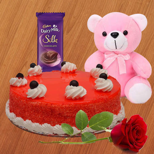 Order Red Velvet Cake with Red Rose, Dairy Milk Silk N Teddy Online