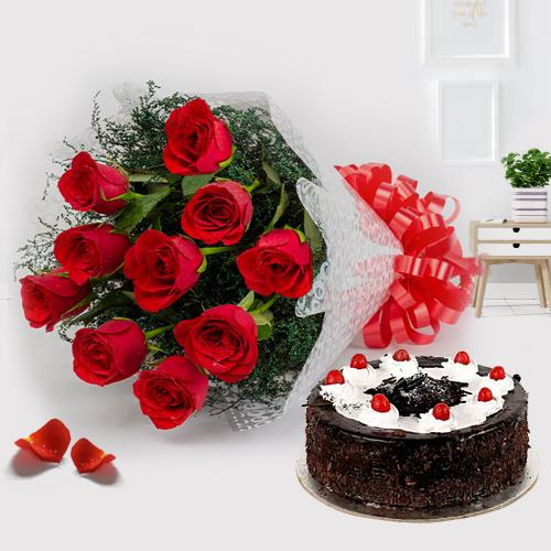 Glorious 1 Lb Black Forest Cake with Single Red Rose and a Small Teddy Bear