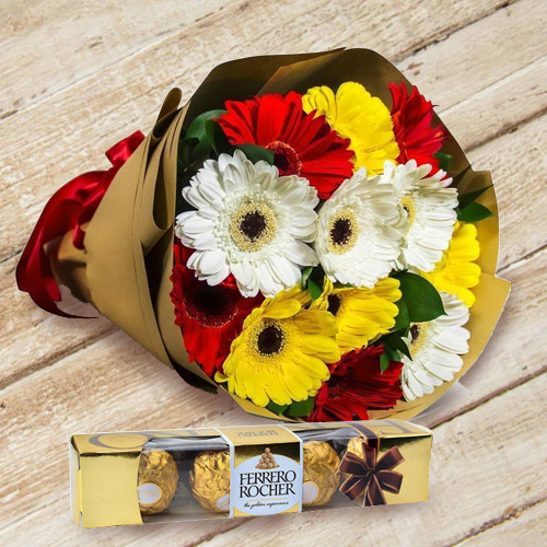 Online Bouquet of Gerbera and Ferrero Rocher