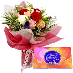 Online Mixed Roses with Cadbury Celebration Online