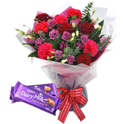 Online Delivery of Mixed Flower Bouquet and Cadbury Celebration