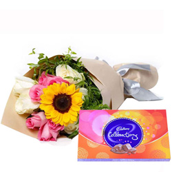 Gift Mixed Flower Bouquet with Cadbury Celebration Chocolate Online