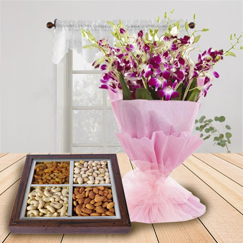 Order Combo of Dry Fruits and Orchids Bouquet Online