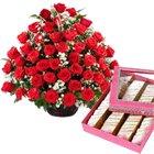 50 Red Roses with 500 gms Kaju Barfi