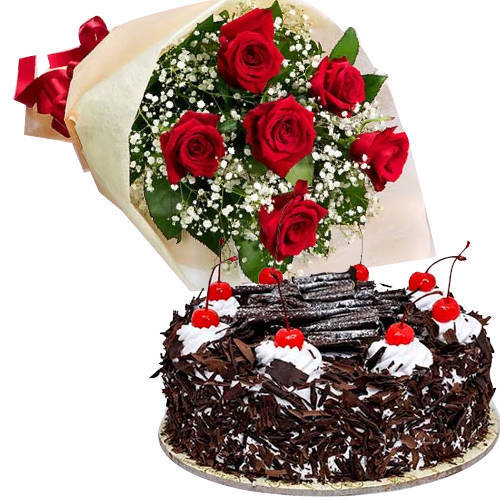 Deliver Online Black Forest Cake with Red Roses Bouquet