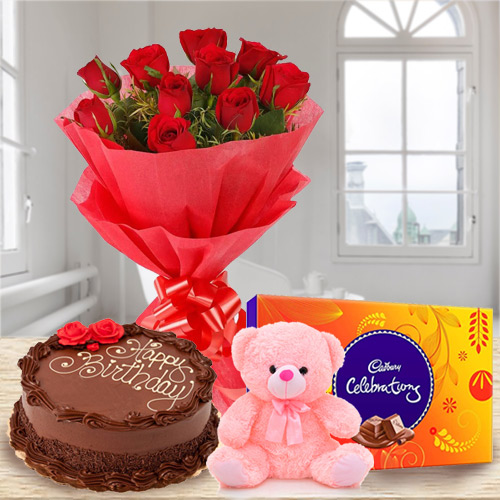 Online Order Chocolate Cake with Red Roses Bouquet, Teddy N Cadbury Celebration