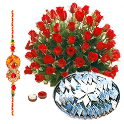 Red Roses and  Kaju Katli with Free Rakhi, Roli Tika, Chawal