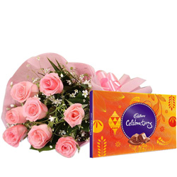 Deliver Combo of Pink Roses and Cadbury Celebration Online
