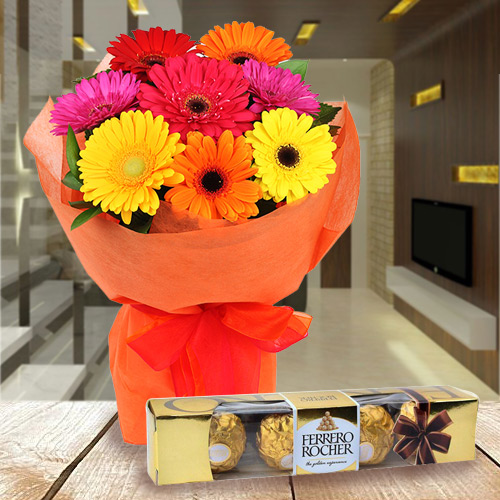 Deliver Gerbera Bouquet with Ferrero Rocher Chcocolate Online