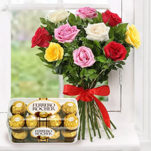 Send Online Mixed Roses with Ferrero Rocher Chocolate