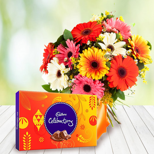 Delicious Cadbury Celebration Pack with Tender Basket Arrangement of Colorful Gerberas