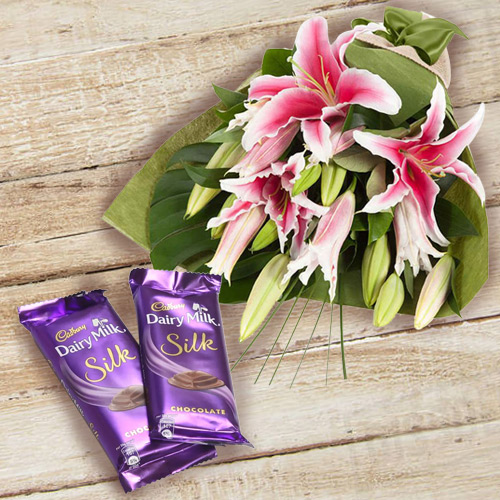 Send Gift Dairy Milk Silk and Pink Lilies Bouquet Online