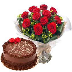 Order Online Chocolate Cake with Red Roses Bouquet