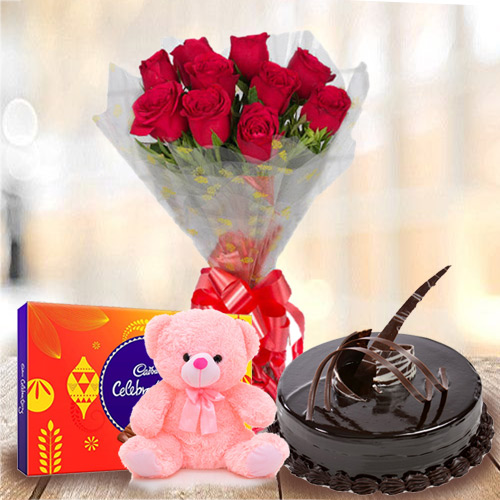 Online Red Roses Bouquet with Chocolate Cake, Small Teddy N Cadbury Celebration