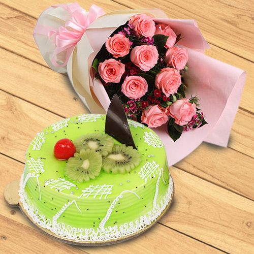 Book Online Red Roses Bouquet with Kiwi Cake
