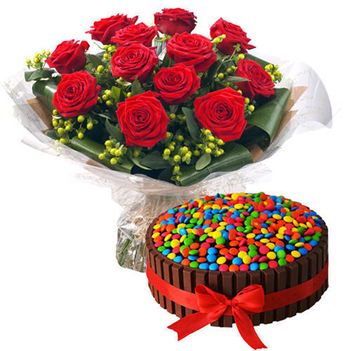 Deliver Combo of Red Roses Bouquet N Kitkat Cake Online
