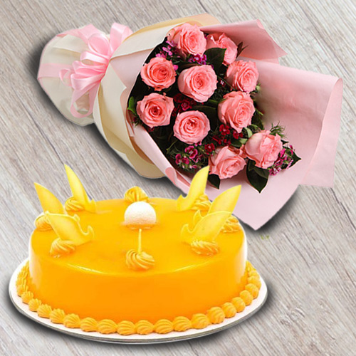 Gift Mango Flavour Cake N Red Roses Bouquet Online